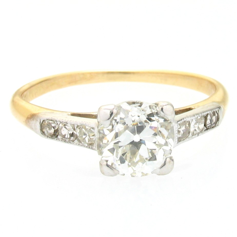 1920's 14k gold & diamond ring, 0.68 h-vs1 |