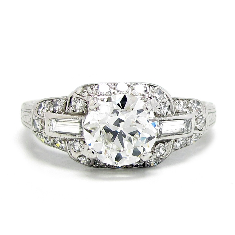 1920's platinum & diamond ring, 1.16ct g-vvs2 |