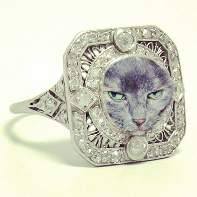 1920 S Vintage Mounting With Cat