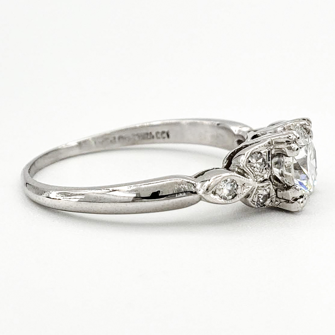 Vintage Platinum Engagement Ring With 0.69 Carat Round Brilliant Cut Diamond EGL – D VS1
