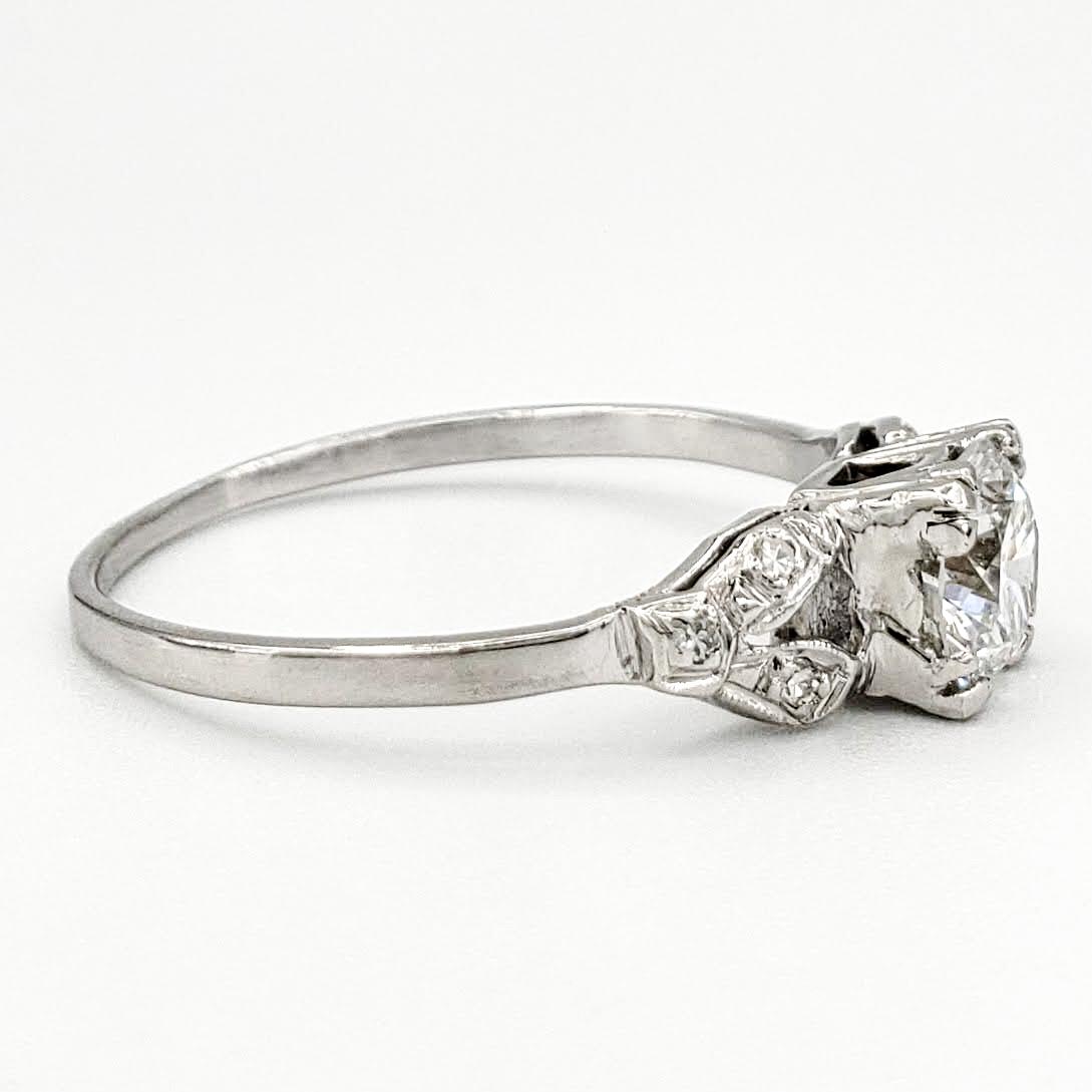 Vintage Platinum Engagement Ring With 0.60 Carat Round Brilliant Cut Diamond EGL – D SI1