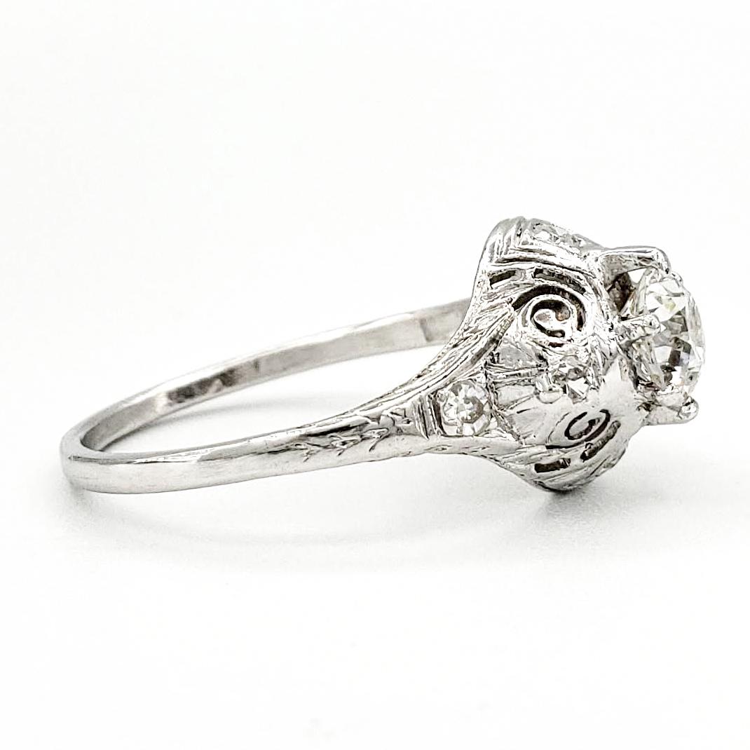 Vintage Platinum Engagement Ring With 0.53 Carat Old European Cut Diamond EGL – F SI1
