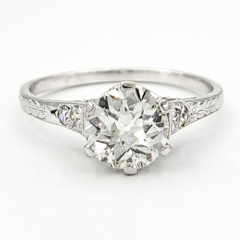 Vintage Platinum Engagement Ring With 0.76 Carat Old European Cut Diamond EGL – H VS2