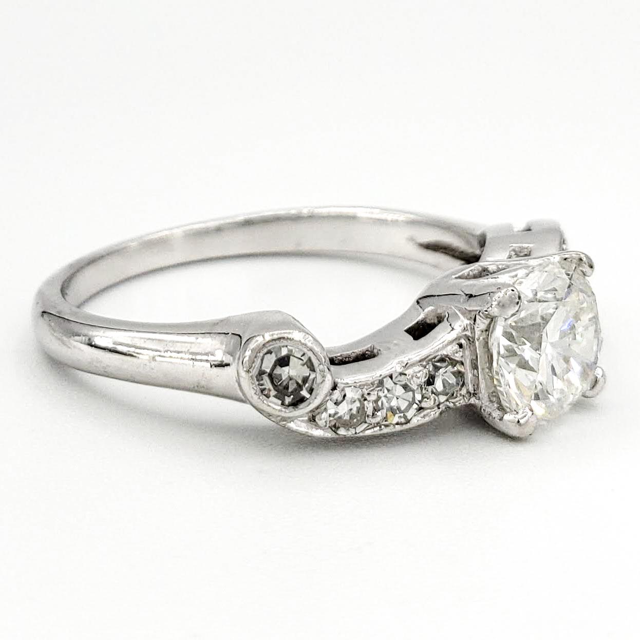 Vintage Platinum Engagement Ring With 0.81 Carat Round Brilliant Cut Diamond EGL – F SI2