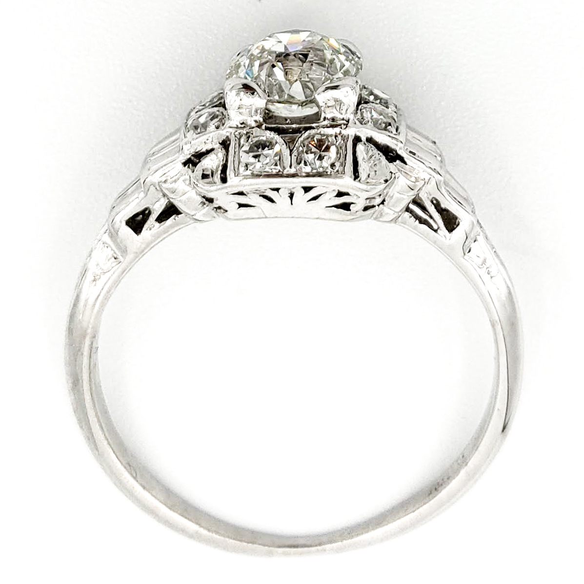 Vintage Platinum Engagement Ring With 0.69 Carat Old European Cut Diamond EGL – H VS2