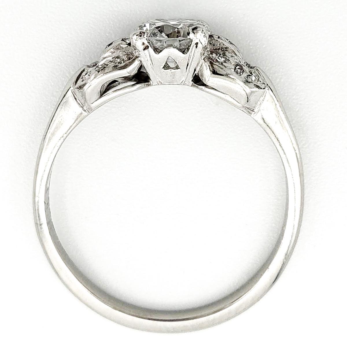 Vintage Platinum Engagement Ring With 0.59 Carat Round Brilliant Cut Diamond GIA – D VS1