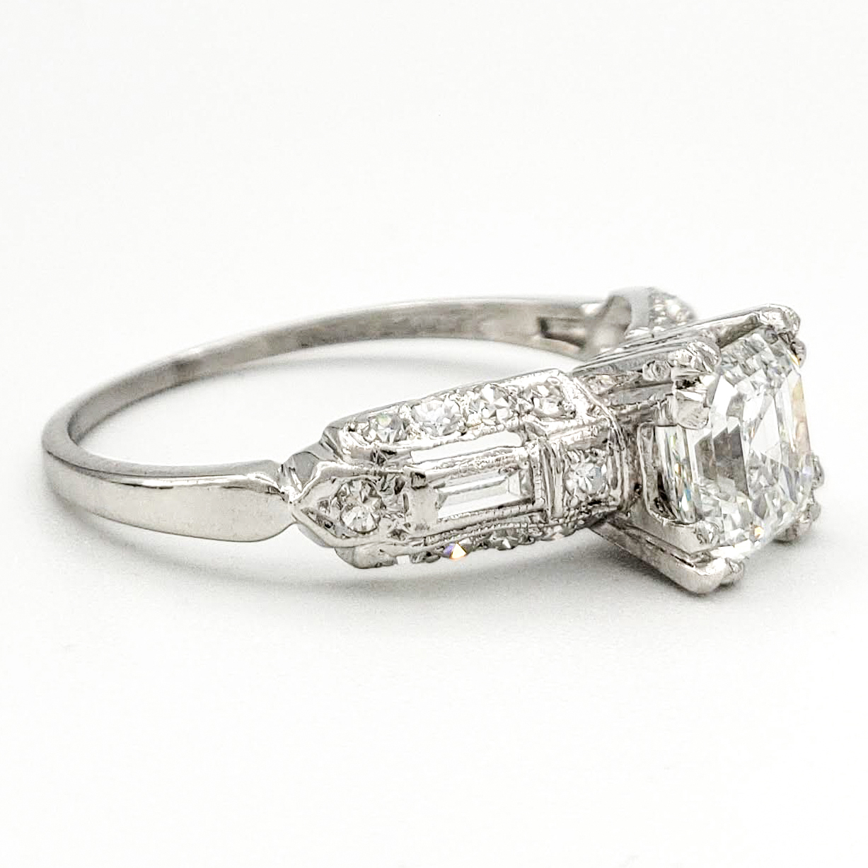 Vintage Platinum Engagement Ring With 1.01 Carat Asscher Cut Diamond GIA – F SI1