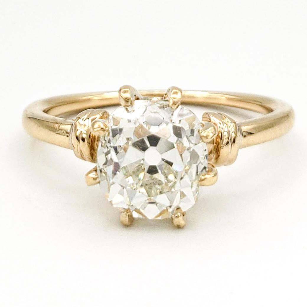 Vintage 18 Karat Engagement Ring With 1.63 Carat Old European Cut Diamond GIA – L SI2