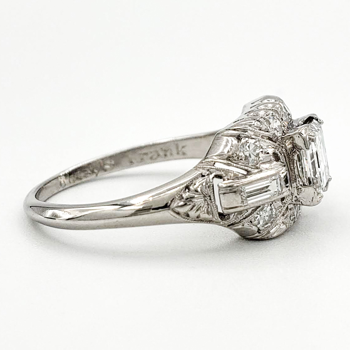 vintage-platinum-engagement-ring-with-0-69-carat-asscher-cut-diamond-gia-f-si1