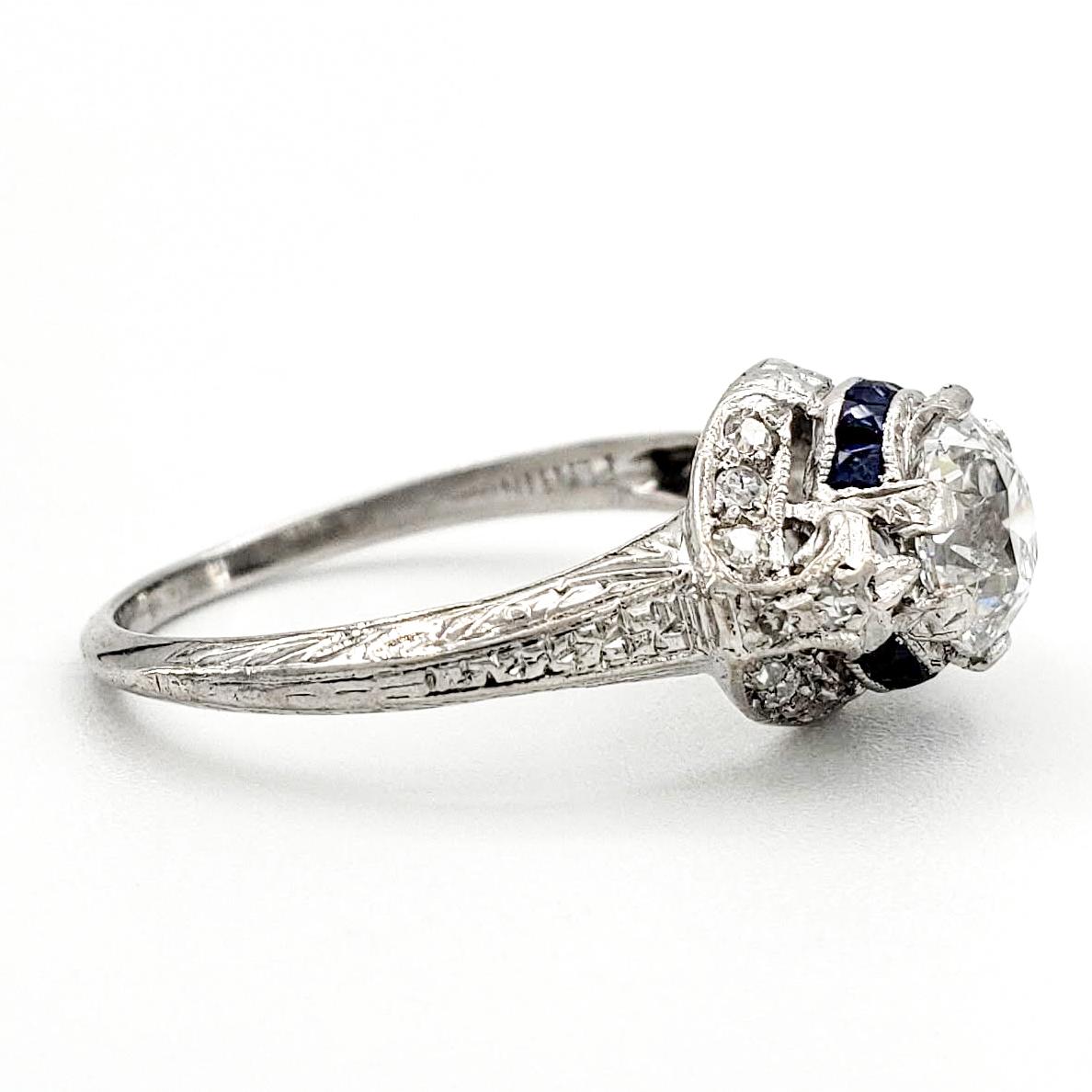 Vintage Platinum Engagement Ring With 0.91 Carat Old European Cut Diamond GIA – E SI2