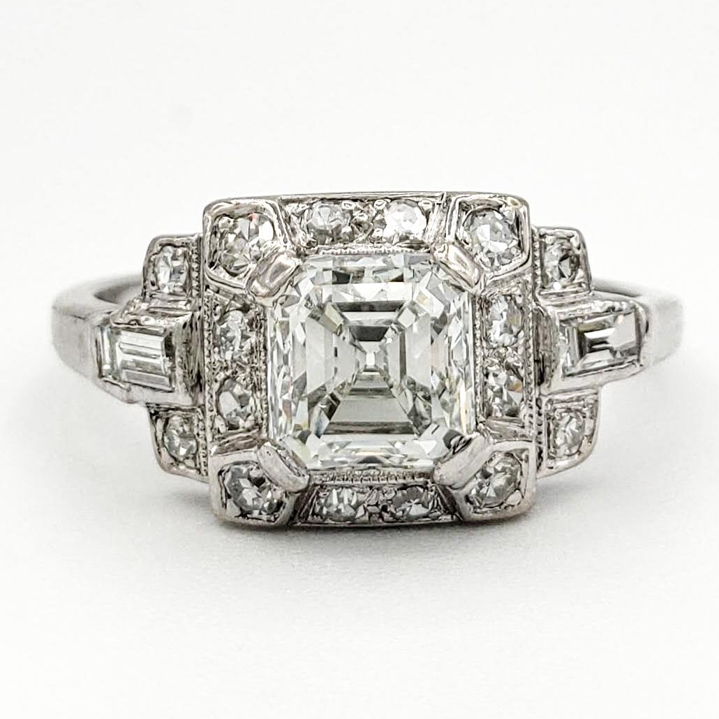 Vintage Platinum Engagement Ring With 1 05 Carat Asscher Cut Diamond Gia H Vs1