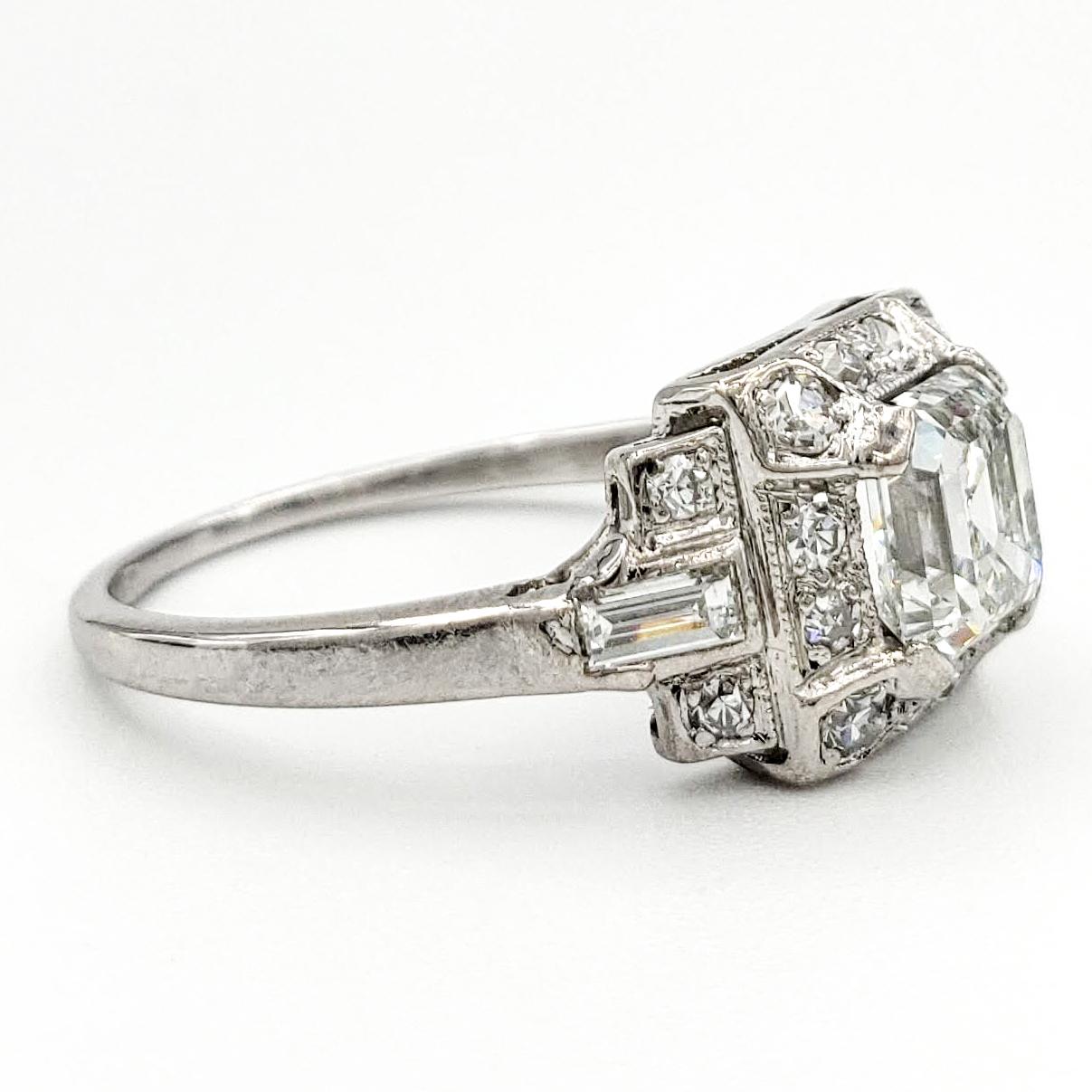 Vintage Platinum Engagement Ring With 1.05 Carat Asscher Cut Diamond GIA – H VS1