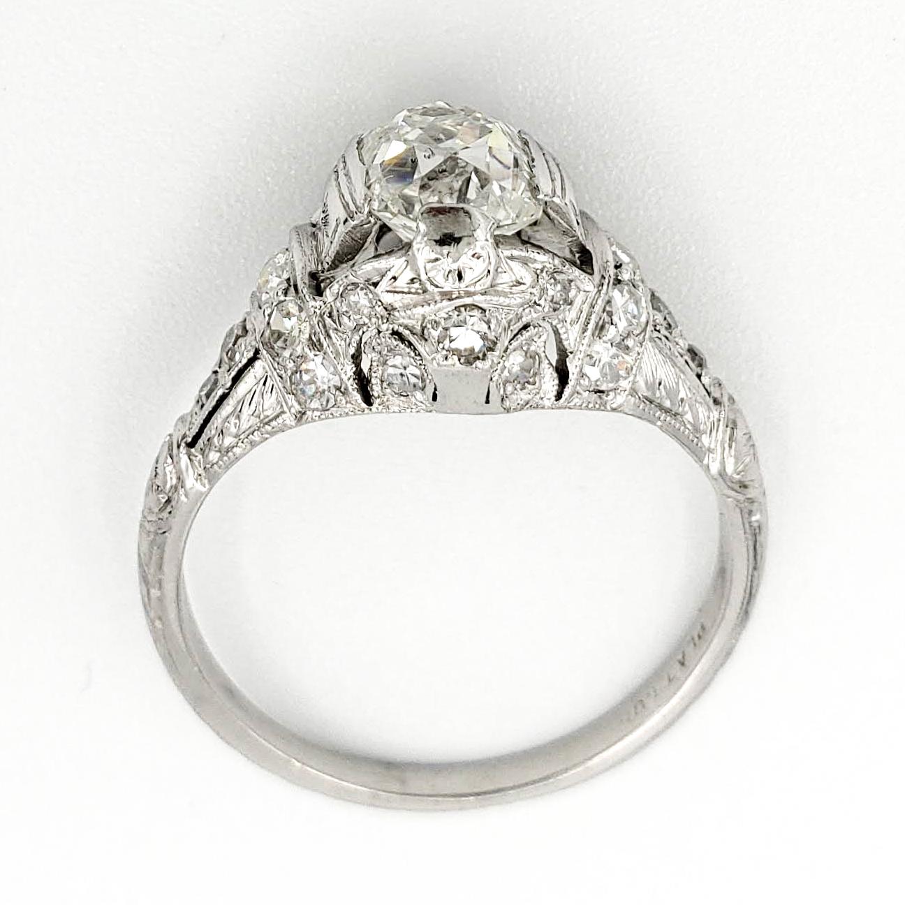 vintage-platinum-engagement-ring-with-1-23-old-mine-cut-diamond-egl-g-si1