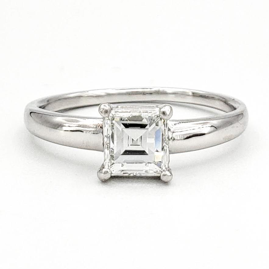 vintage-platinum-engagement-ring-with-0-58-carat-square-step-cut-diamond-gia-f-vs1
