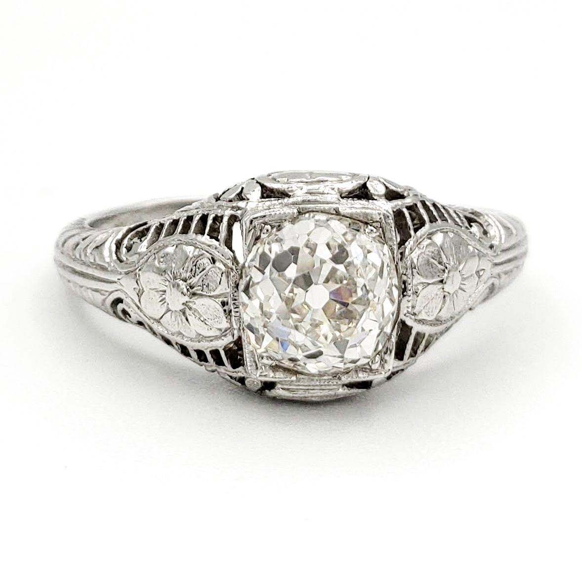 vintage-platinum-engagement-ring-with-1-02-carat-old-european-cut-diamond-egl-h-si1