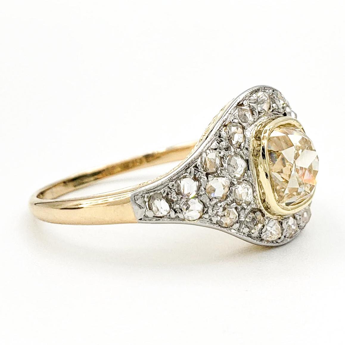 vintage-18-karat-gold-engagement-ring-with-1-41-carat-old-mine-cut-diamond-gia