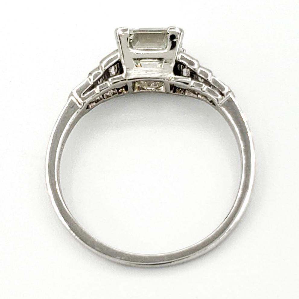 Vintage Platinum Engagement Ring With 1.61 Carat Emerald Cut Diamond GIA – K VS2
