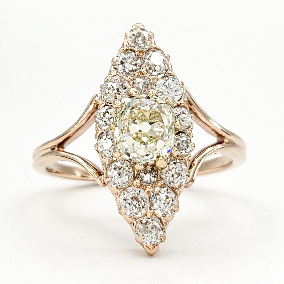 Vintage 14 Karat Gold Engagement Ring With 0 85 Carat Old European Cut Diamond Gia Uv Vs2