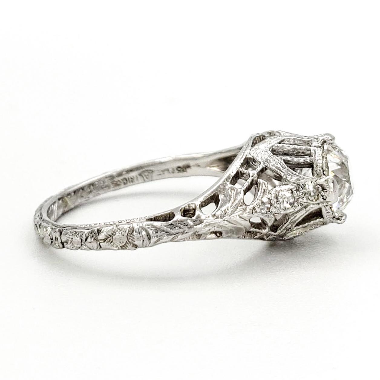 vintage-platinum-engagement-ring-with-0-71-carat-old-european-cut-diamond-egl-f-vs2