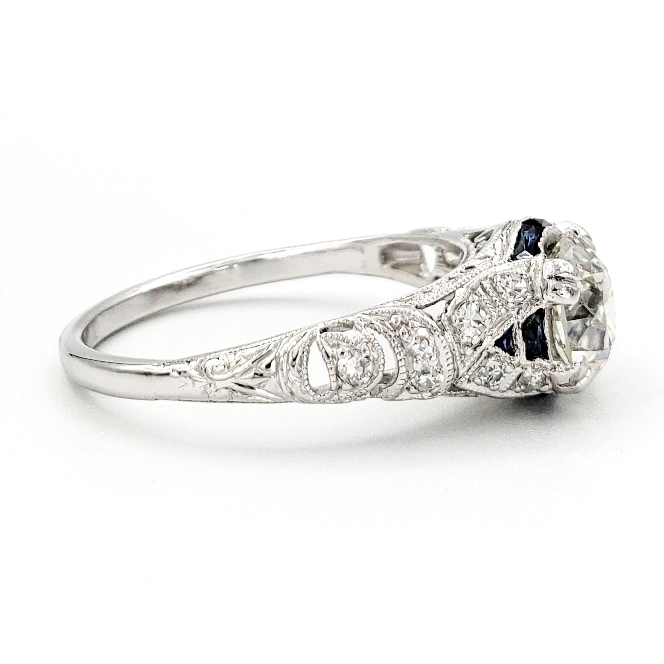 vintage-platinum-engagement-ring-with-1-25-carat-old-european-cut-diamond-egl-j-vvs2