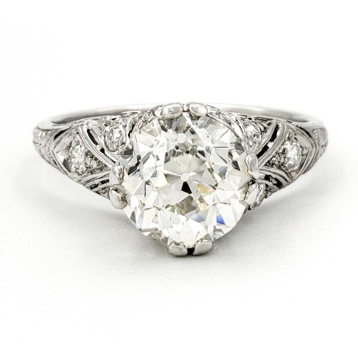 vintage-platinum-engagement-ring-with-1-99-carat-old-european-cut-diamond-egl-h-vs2