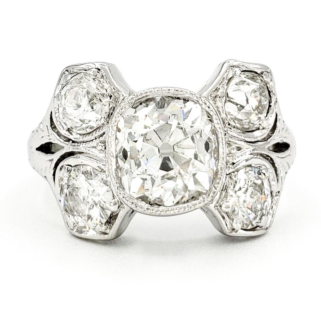 vintage-platinum-engagement-ring-with-1-41-carat-old-mine-cut-diamond-egl-h-si2