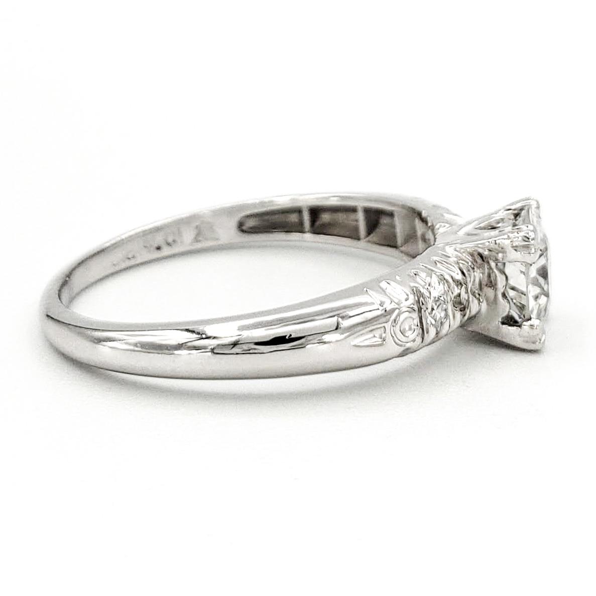 vintage-platinum-engagement-ring-with-0-44-carat-old-european-cut-diamond-egl-e-vs2