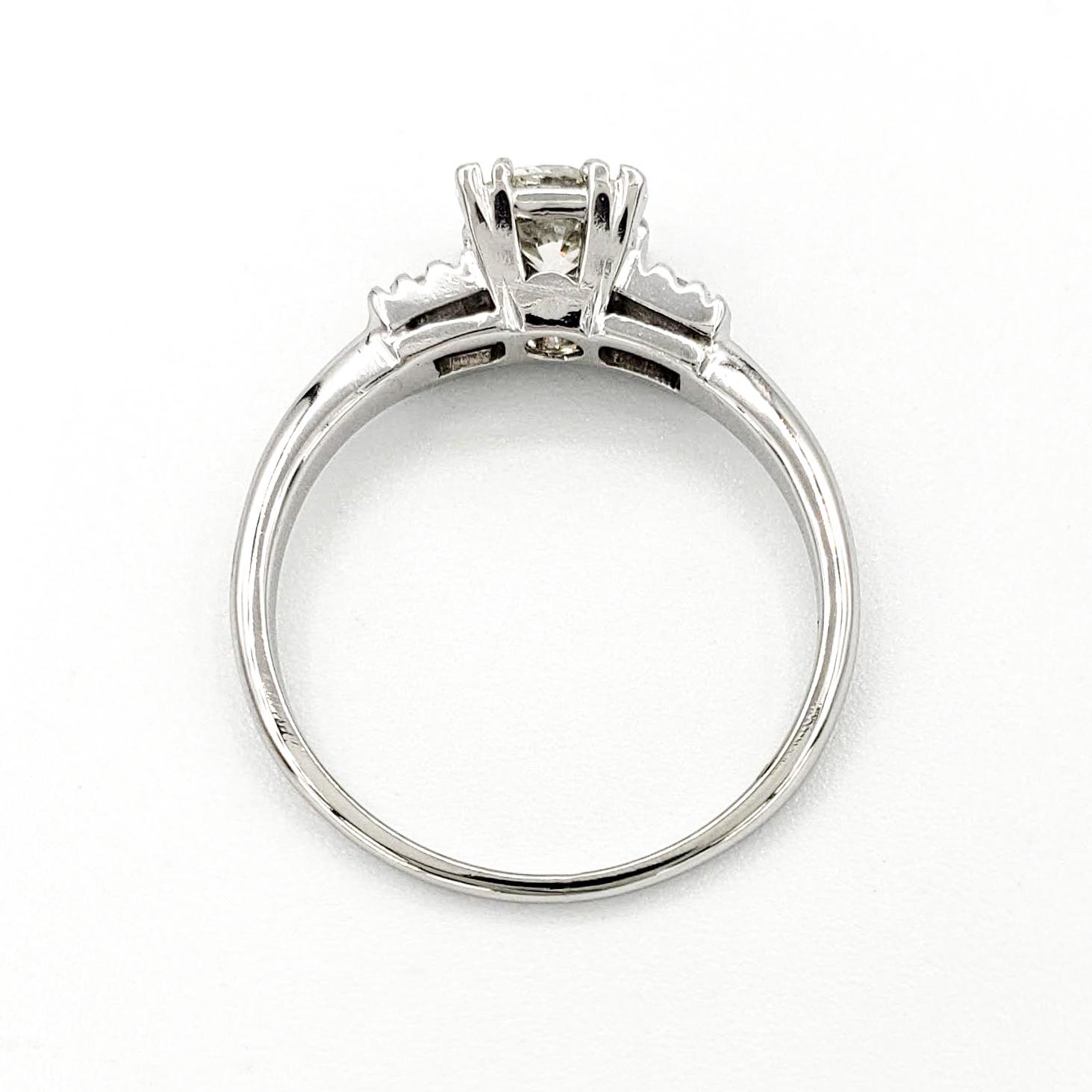 Vintage Platinum Engagement Ring With 0.48 Carat Old European Cut Diamond EGL - J VS2