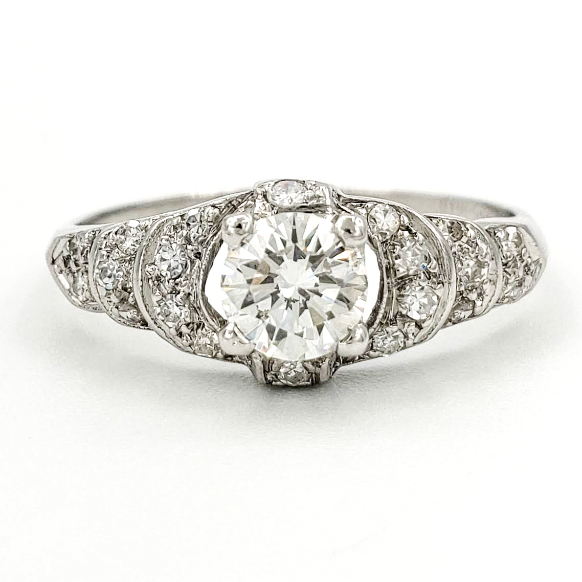 vintage-platinum-engagement-ring-with-0-43-carat-round-brilliant-cut-diamond-gia-h-si1