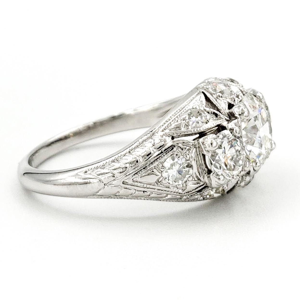 vintage-platinum-engagement-ring-with-0-83-carat-old-european-cut-diamond-gia-i-vs2