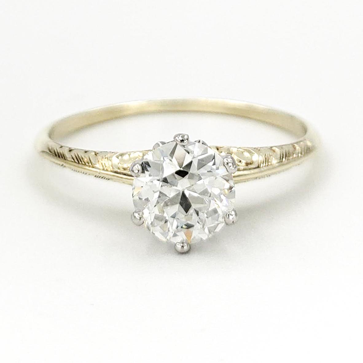 vintage-14-karat-gold-engagement-ring-with-0-71-carat-old-european-cut-diamond-gia-j-si2