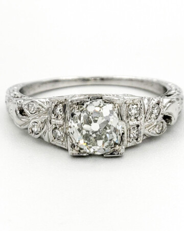 estate-platinum-engagement-ring-with-0-88-carat-old-mine-cut-diamond-gia-j-vs1