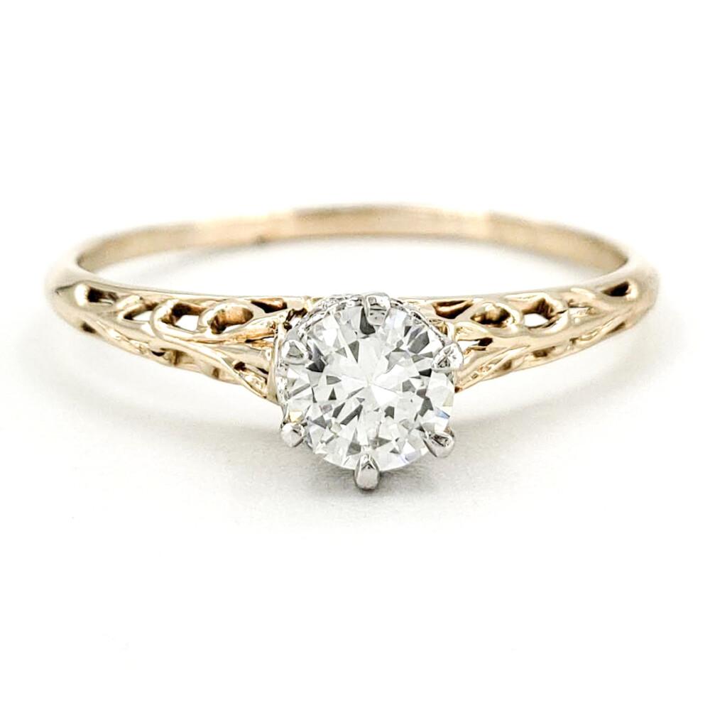 Vintage 14 Karat Gold Engagement Ring With 0 39 Carat Old European Cut Diamond Egl G Vs2