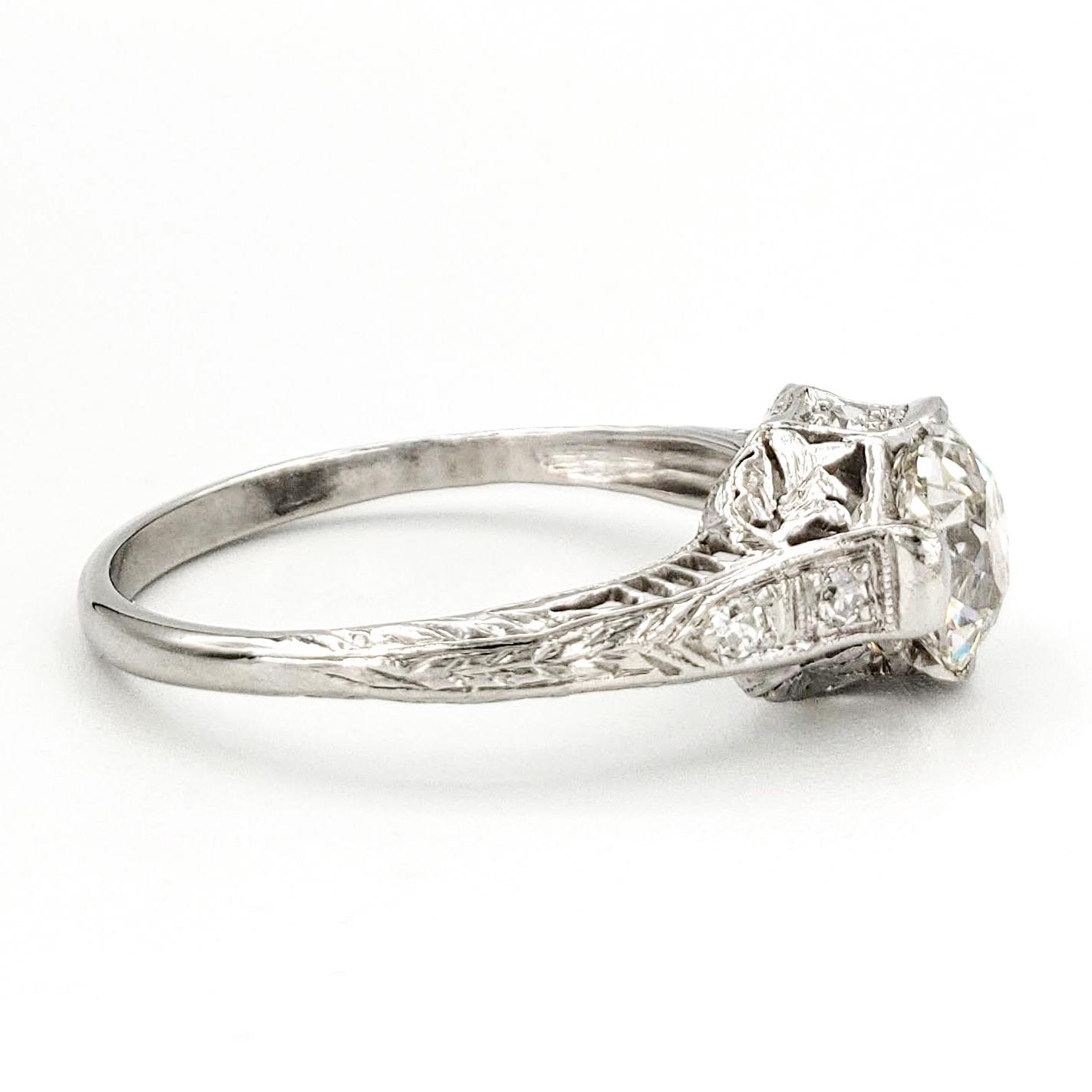vintage-platinum-engagement-ring-with-1-19-carat-old-european-cut-diamond-gia-j-si1
