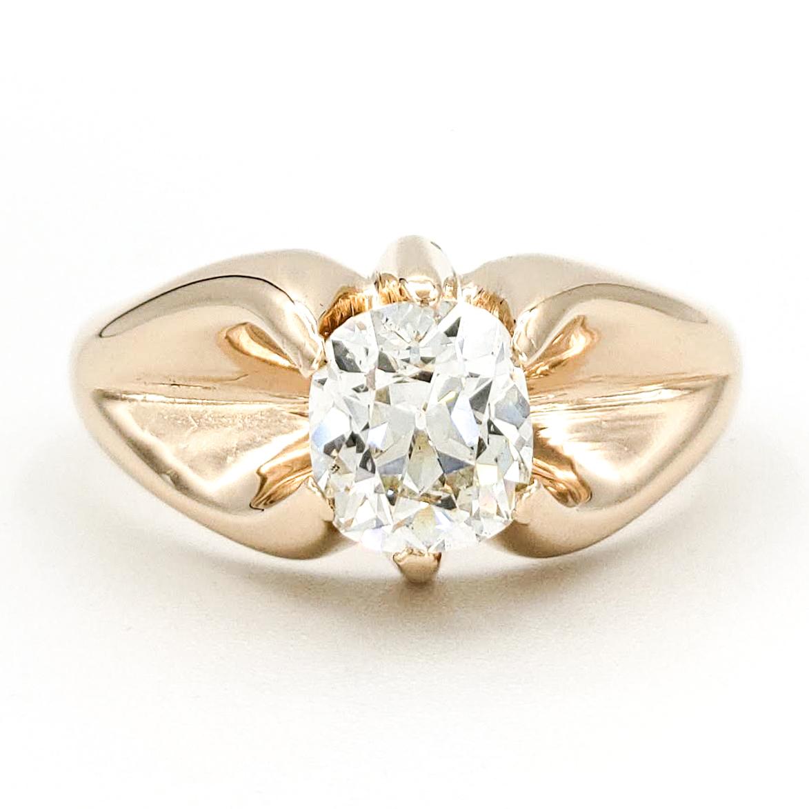 vintage-14-karat-gold-engagement-ring-with-1-13-carat-old-mine-cut-diamond-egl-g-si2