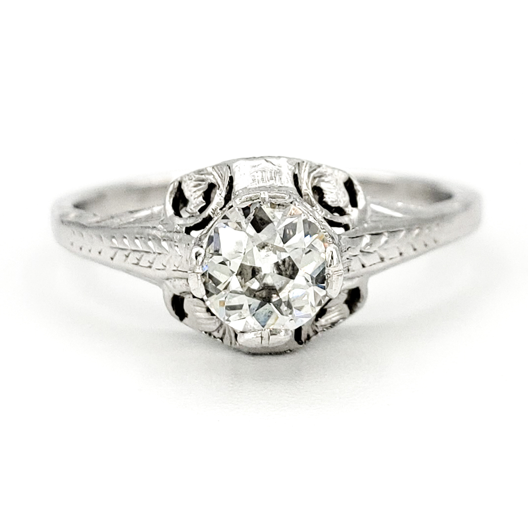 vintage-platinum-engagement-ring-with-0-43-carat-old-european-cut-diamond-egl-h-vs1
