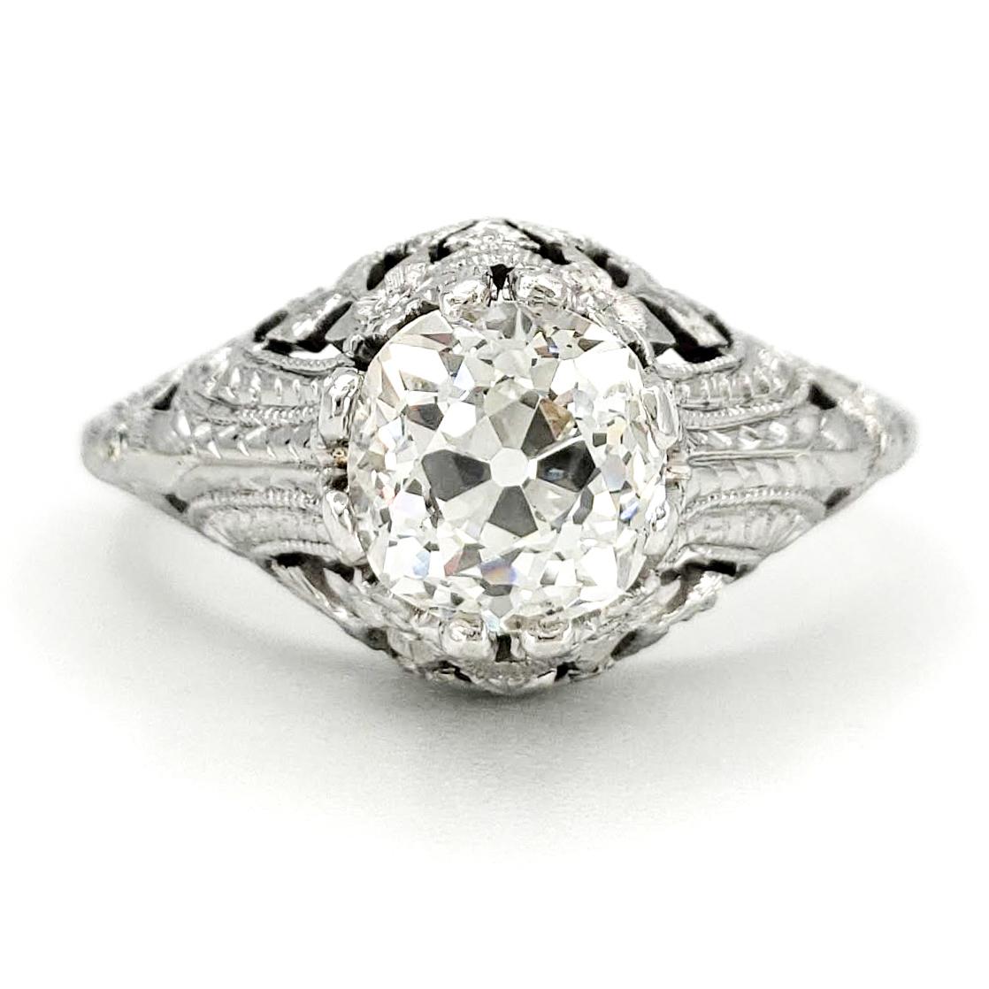vintage-platinum-engagement-ring-with-1-27-carat-old-european-cut-diamond-egl-h-vs2