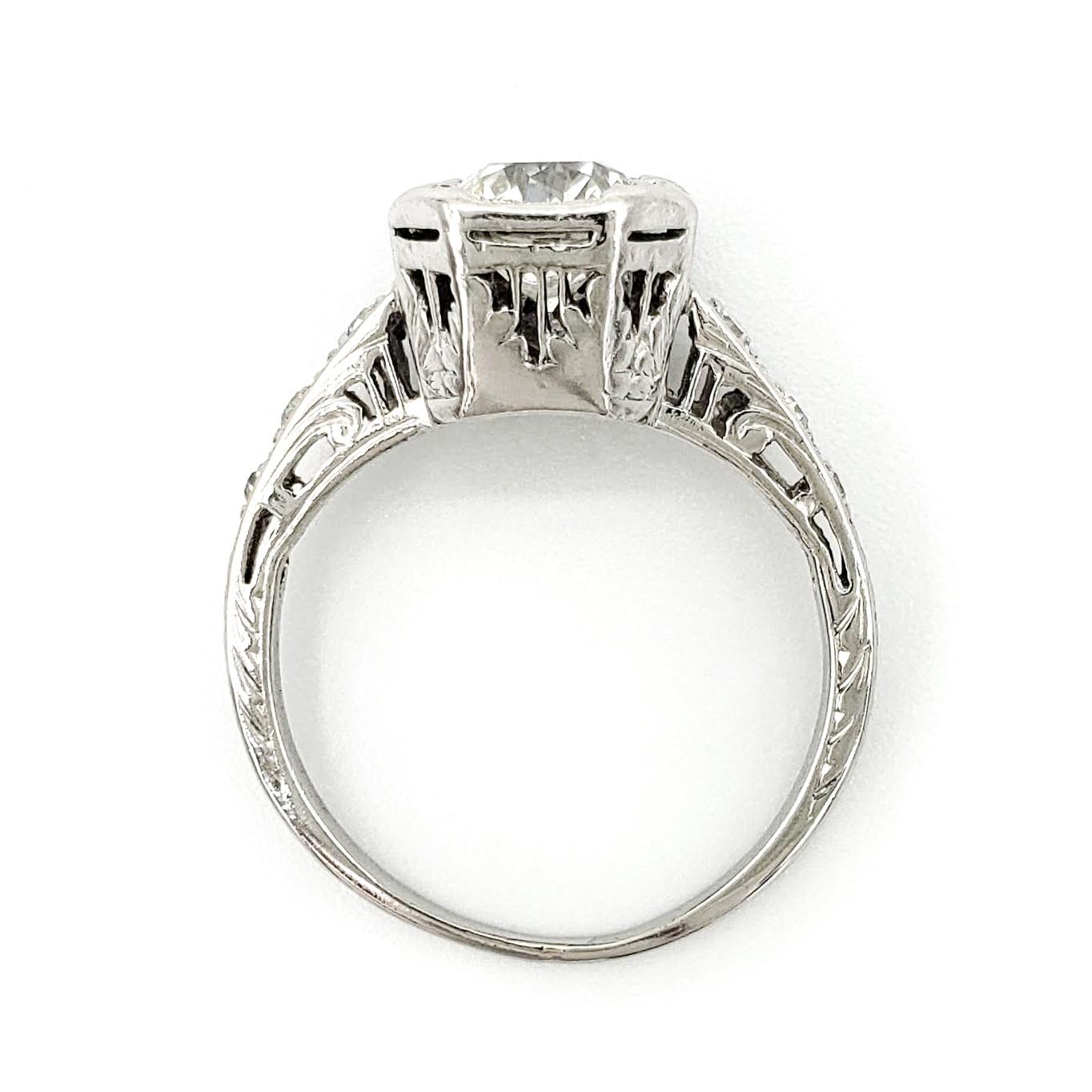 vintage-platinum-engagement-ring-with-0-93-carat-old-european-cut-diamond-egl-h-vs1