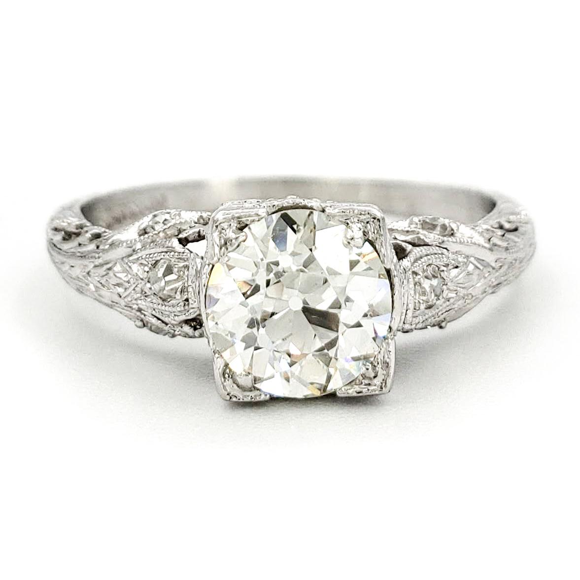 vintage-platinum-engagement-ring-with-1-08-carat-old-european-cut-diamond-egl-g-vs2